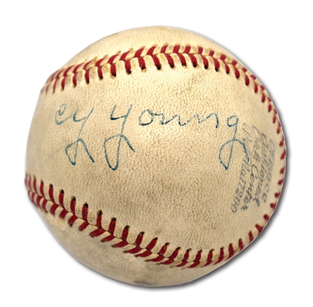 C. 1935-44 CY YOUNG SIGNED AMERICAN ASSOCIATION BASEBALL - DISPLAYS AS LOVELY SINGLE