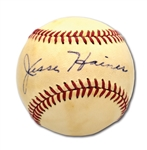 JESSE HAINES AUTOGRAPHED RAWLINGS BASEBALL - PRESENTS AS SINGLE