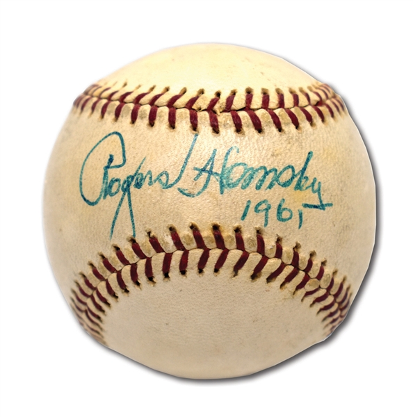 1961 ROGERS HORNSBY SINGLE SIGNED & DATED OAL (CRONIN) BASEBALL - ONE OF FINEST KNOWN EXAMPLES