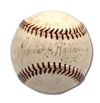 1958 RODERICK [BOBBY] WALLACE SINGLE SIGNED, DATED & INSCRIBED ONL (GILES) BASEBALL - ONE OF FINEST KNOWN EXAMPLES