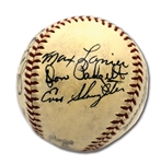 1941 ST. LOUIS CARDINALS PARTIAL TEAM SIGNED ONL (FRICK) BASEBALL WITH 12 BOLD AUTOS.