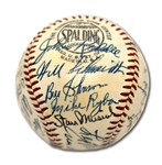 HIGH-GRADE 1952 ST. LOUIS CARDINALS TEAM SIGNED ONL (GILES) BASEBALL WITH 28 AUTOS. (ENOS SLAUGHTER COLLECTION)
