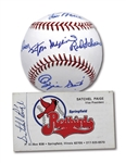 ST. LOUIS CARDINALS HOF LEGENDS SIGNED BASEBALL (W/ MUSIAL) PLUS SATCHEL PAIGE SIGNED SPRINGFIELD REDBIRDS (AAA) BUSINESS CARD