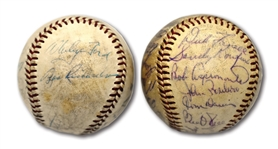 "MAY 7, 1959 ""ROY CAMPANELLA NIGHT"" GAME BALL SIGNED BY (14) N.Y. YANKEES PLUS 1961 L.A. DODGERS TEAM SIGNED BASEBALL W/ 28 AUTOS."