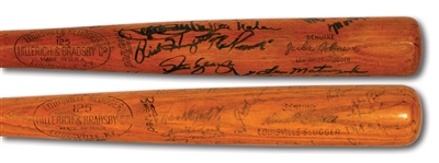 PAIR OF L.A. DODGERS TEAM SIGNED BATS: 1964 DERRELL GRIFFITH GAME USED H&B PRO MODEL AND 1980S JACKIE ROBINSON H&B STORE MODEL