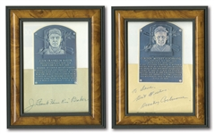 "PAIR OF FRANK ""HOME RUN"" BAKER (FULL NAME) AND MICKEY COCHRANE CUT SIGNATURE HALL OF FAME PLAQUE DISPLAYS"