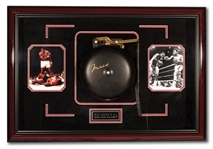 MUHAMMAD ALI AUTOGRAPHED FULL-SIZE BOXING RING BELL IN DELUXE SHADOWBOX DISPLAY