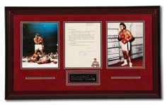 "C. 1974 MUHAMMAD ALI SIGNED TYPED LETTER TO FAN BEFORE ""RUMBLE IN THE JUNGLE"" (VS. FOREMAN) IN DECORATIVE DISPLAY"