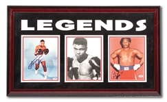 "MUHAMMAD ALI, JOE FRAZIER AND GEORGE FOREMAN ""LEGENDS"" TRIO OF SIGNED PHOTOGRAPHS IN LOVELY DISPLAY"
