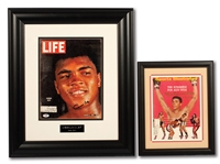 CASSIUS CLAY SIGNED 3/6/1964 LIFE MAGAZINE AND MUHAMMAD ALI SIGNED 7/10/1967 SPORTS ILLUSTRATED (BOTH FRAMED)