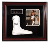 MUHAMMAD ALI AUTOGRAPHED EVERLAST BOXING SHOE IN DELUXE SHADOWBOX DISPLAY