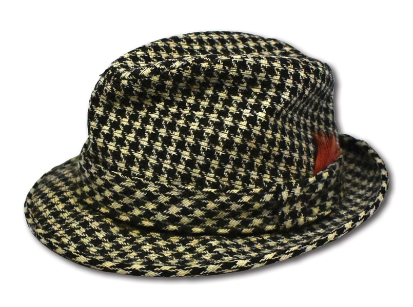 "COACH PAUL ""BEAR"" BRYANT SIGNED & DATED ""11/22/1982"" ALABAMA CRIMSON TIDE WORN HOUNDSTOOTH HAT - ONLY AUTOGRAPHED EXAMPLE KNOWN (LOA FROM HIS PERSONAL TAILOR)"