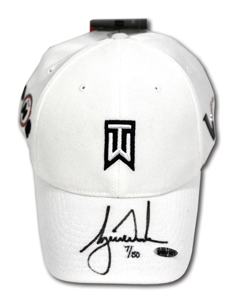 TIGER WOODS AUTOGRAPHED NIKE VICTORY TW LOGO HAT - LIMITED EDITION #7/50 (UDA COA)