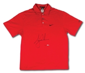 TIGER WOODS AUTOGRAPHED 2010 U.S. OPEN SUNDAY RED NIKE POLO SHIRT - LIMITED EDITION #2/100 (UDA COA)