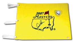 ARNOLD PALMER AUTOGRAPHED 2007 MASTERS PIN FLAG AND SINGLE SIGNED GOLF BALL