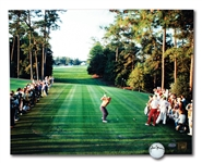 JACK NICKLAUS SINGLE SIGNED GOLF BALL AND AUTOGRAPHED 1986 MASTERS 18TH HOLE 16x20 PHOTO (STEINER COAS)