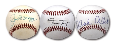 JOE DiMAGGIO, WILLIE MAYS AND HANK AARON TRIO OF SINGLE SIGNED OAL/ONL/OML BASEBALLS