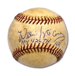 "8/2/1974 WILLIE McCOVEY 426TH CAREER HOME RUN BASEBALL (OFF DON SUTTON) SIGNED & INSCRIBED ""MY 426TH HR"" (PADRES COACH LOA)"