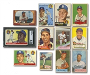 1952-1955 MOSTLY TOPPS LOT OF (21) DIFFERENT WITH 12 HALL OF FAMERS INCL. #47 AARON (SGC VG-EX+ 4.5) - 24 TOTAL CARDS