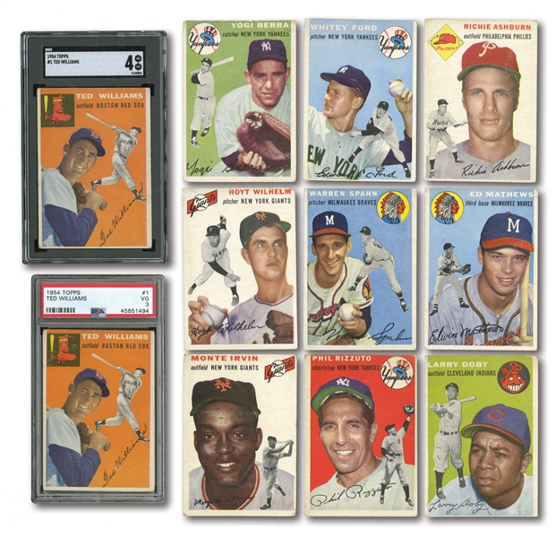 1954 TOPPS LOT OF (20) WITH 10 HALL OF FAMERS INCL. PAIR OF #1 TED WILLIAMS (SGC VG-EX 4, PSA VG 3)