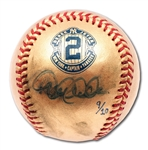 DEREK JETER SINGLE SIGNED ONL (SELIG) 24K GOLD RETIREMENT COMMEMORATIVE BASEBALL - LE #9/10 (STEINER COA, MLB AUTH.)