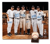 YANKEES PERFECT GAME BATTERY MATES MULTI-SIGNED & DATED BASEBALL AND 16x20 PHOTO PAIR - LARSEN/BERRA, CONE/GIRARDI & WELLS/POSADA (STEINER, MLB AUTH.)