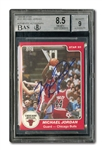 1984-85 STAR CO. BASKETBALL #101 MICHAEL JORDAN AUTOGRAPHED - HIS TRUE ROOKIE CARD (BECKETT DUAL GRADE: NM-MT+ 8.5 CARD; 9 AUTO.)