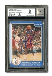 "1984-85 STAR CO. BASKETBALL #288 MICHAEL JORDAN ""ROOKIE OF THE YEAR"" AUTOGRAPHED (BECKETT DUAL GRADE: NM-MT 8 CARD; 7 AUTO.)"