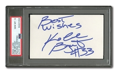 "C. 1995-96 KOBE BRYANT AUTOGRAPHED 3x5 INDEX CARD INSCRIBED ""BEST WISHES #33"" - SIGNED WHILE AT LOWER MERION H.S. (PSA/DNA GEM MINT 10 AUTO.)"
