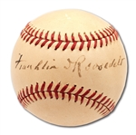 C. 1940-41 PRESIDENT FRANKLIN DELANO ROOSEVELT SINGLE SIGNED OAL (HARRIDGE) BASEBALL - THE FINEST KNOWN EXAMPLE!