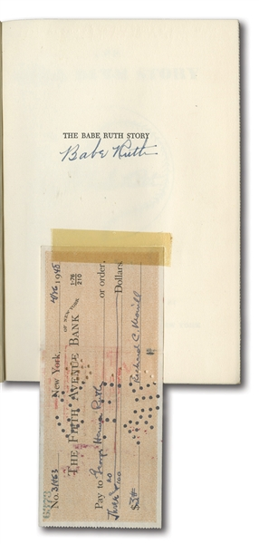 "4/16/1948 ""GEORGE HERMAN RUTH"" FULL NAME ENDORSED CHECK WITH AUTOGRAPHED 1948 ""THE BABE RUTH STORY"" BOOK BOUGHT DIRECTLY FROM RUTH! (DIRECT FAMILY PROVENANCE)"