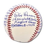 "DON LARSEN SINGLE SIGNED & INSCRIBED OML BASEBALL INSCRIBED ""WORLD SERIES PERFECT GAME OCTOBER 8 - 1956"" W/ YANKEES & DODGERS BOX SCORES"