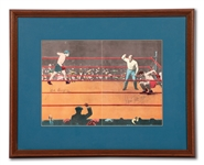 "JACK DEMPSEY AND GENE TUNNEY DUAL-SIGNED VINTAGE ARTISTIC RENDITION OF THEIR 1927 HEAVYWEIGHT TITLE REMATCH (""THE LONG COUNT FIGHT"")"