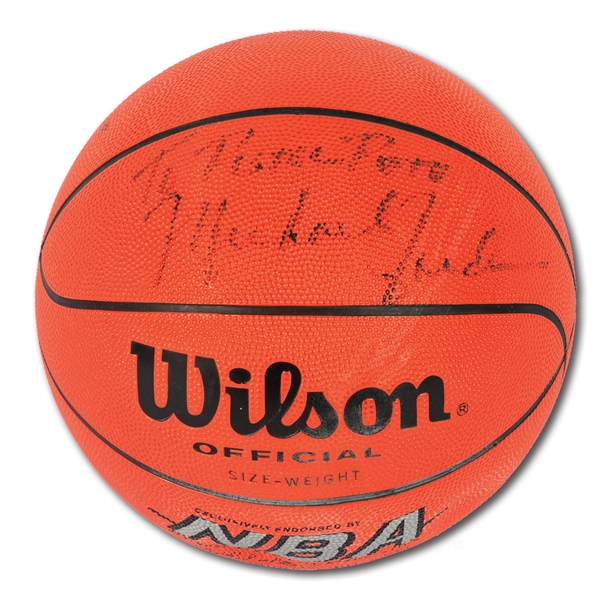 "C. EARLY 1980S MICHAEL JORDAN SIGNED BASKETBALL INSCRIBED ""TO PISTOL PETE"""