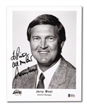 "JERRY WEST SIGNED LOS ANGELES LAKERS GM EXECUTIVE PHOTO INSCRIBED ""TO PISTOL, BEST WISHES"""