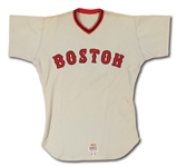 1972 CARLTON FISK BOSTON RED SOX (ROOKIE OF THE YEAR SEASON) GAME WORN ROAD JERSEY (MEARS A10)