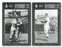 MICKEY MANTLE PAIR OF SIGNED EARLY CAREER 5x7 BLACK & WHITE PHOTOS - BECKETT MINT 9 & GEM MINT 10