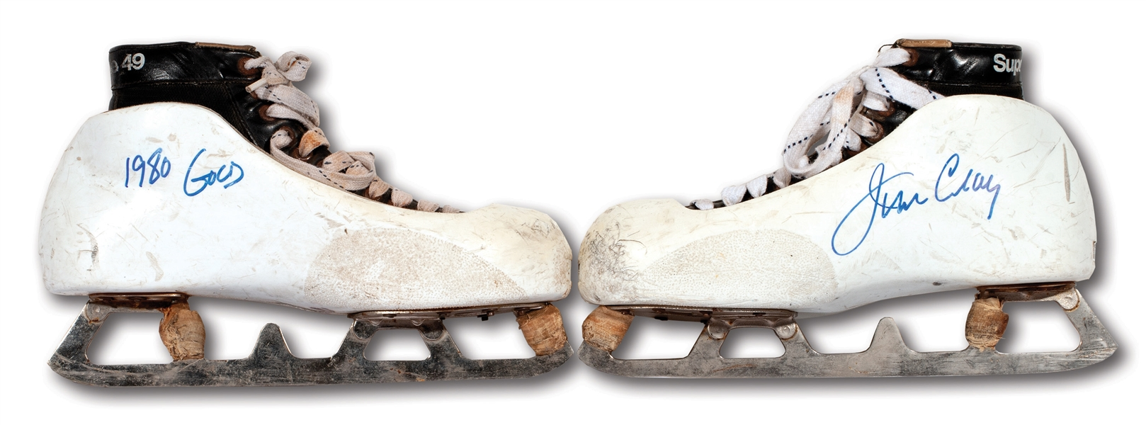 "JIM CRAIGS SIGNED & INSCRIBED 1980 OLYMPICS ""MIRACLE ON ICE"" GOALIE SKATES WORN EVERY GAME OF USAS EPIC GOLD MEDAL RUN IN LAKE PLACID (CRAIG LOA)"