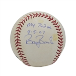 THE BALL HIT BY BARRY BONDS FOR HIS 762nd AND FINAL CAREER HOME RUN (9/5/2007) ESTABLISHING MLBS ALL-TIME RECORD - SIGNED & INSCRIBED BY BONDS WITH IMPECCABLE DOCUMENTATION!