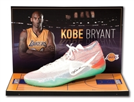 KOBE BRYANT AUTOGRAPHED NIKE KOBE XI SIGNATURE MODEL SHOE WITH DELUXE LAKERS MINI COURT DISPLAY CASE (LAKERS LOA)