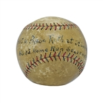 THE BALL HIT BY BABE RUTH FOR HIS 136th CAREER HOME RUN (7/12/1921) TO TIE THEN-MLB RECORD AND BEGIN HIS 53-YEAR REIGN AS BASEBALLS HOME RUN KING! (WELL-DOCUMENTED PROVENANCE)