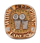 "2001 LOS ANGELES LAKERS WORLD CHAMPIONSHIP ""BACK TO BACK"" RING ISSUED TO TEAMS SPORTS PSYCHOLOGIST"
