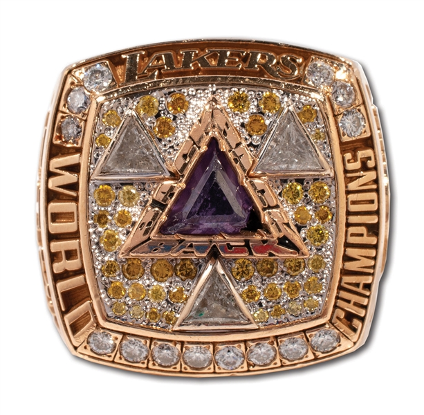 "2002 LOS ANGELES LAKERS WORLD CHAMPIONSHIP ""THREE-PEAT"" RING ISSUED TO TEAMS SPORTS PSYCHOLOGIST"