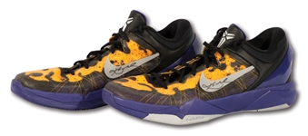 MARCH-MAY 2012 KOBE BRYANT GAME WORN & DUAL-SIGNED NIKE KOBE VII SHOES ATTRIBUTED TO HIS FINAL POSTSEASON (D.C. SPORTS LOA)