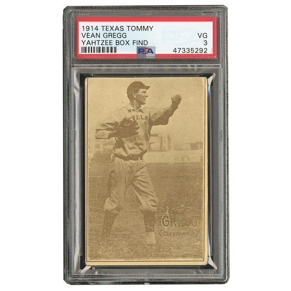 1914 TEXAS TOMMY E224 VEAN GREGG (TYPE 1) PSA VG 3 - HIGHEST GRADED (YAHTZEE BOX FIND)