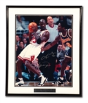MICHAEL JORDAN AND KOBE BRYANT DUAL-SIGNED LIMITED EDITION 16x20 PHOTOGRAPH FROM ONE OF THEIR FIRST MATCHUPS! (UDA COA)