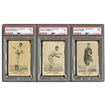 "1917 COLLINS-McCARTHY E135 URBAN ""RED"" FABER, JOHN McGRAW & FRANK SCHULTE PSA GRADED TRIO (YAHTZEE BOX FIND)"
