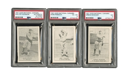 1921 NATIONAL CARAMEL E220 LOT OF (20) WITH PSA GRADED WALTER JOHNSON, PENNOCK & SHOCKER (YAHTZEE BOX FIND)