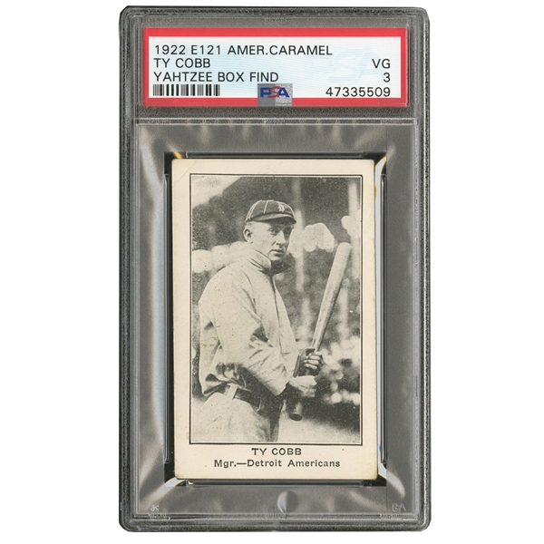 1922 AMERICAN CARAMEL E121 TY COBB (BATTING) PSA VG 3 (YAHTZEE BOX FIND)