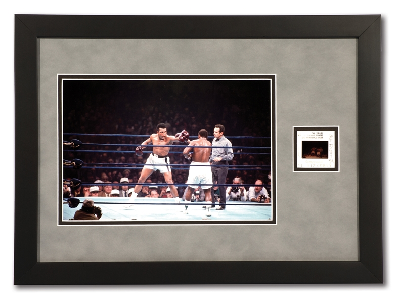 1/28/1974 MUHAMMAD ALI VS. JOE FRAZIER SUPERFIGHT II AT MSG GICLEE PHOTO WITH THE ORIGINAL 1-OF-1 NEGATIVE FILM STRIP FROM HERB SCHARFMANS CAMERA (TypeZero COA)